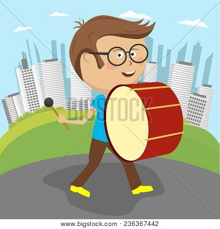 Cute Cheerful Boy Playing Drums Marching Along The Street