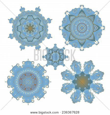 Mandala Different  Collection, Outline Mandalas Inspired Arabian And Indian, Tibetan  Ornament. Adul