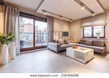 Brown Living Room Interior