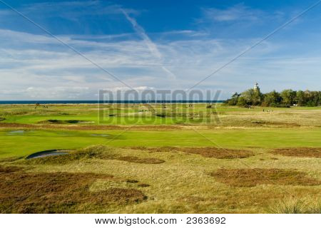 Seaside Golf Landscape At Falsterbo, Sweden. Lovely Day In October.