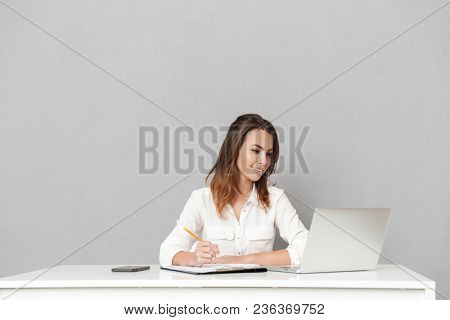 Image of an amazing cheerful young business woman sitting isolated over grey wall background using laptop computer writing notes.