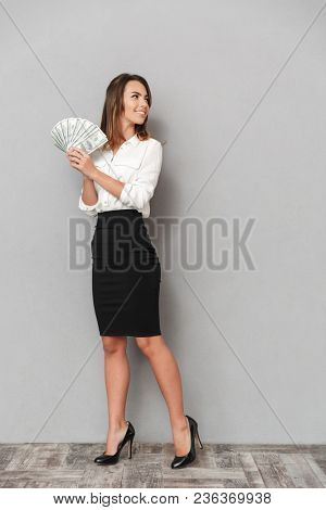 Photo of excited young business woman standing isolated over grey wall background looking aside holding money.