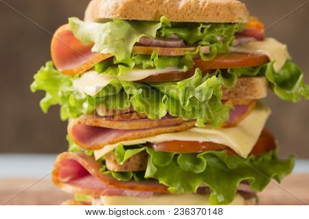 Bright Sandwich With Ham Cheese And Greens Close-up Looks Very Appetizing