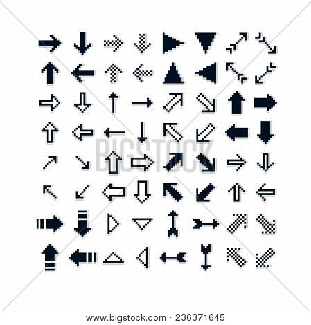 Different Vector Arrows, Pixel Icons Isolated, Collection Of 8bit Graphic Elements. Simplistic Digit