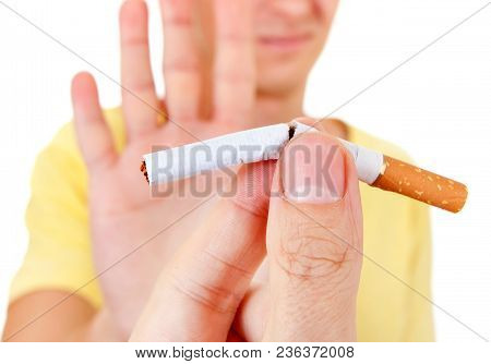 Man Refuse Cigarette Isolated On The White Background