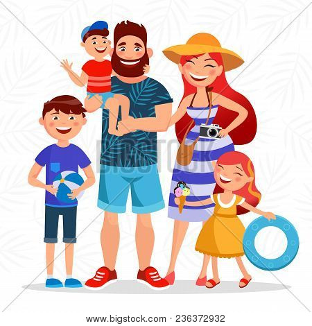 Happy Family On Summer Vacation Going To The Beach And Having Rest Close To The Sea. Parents And Chi