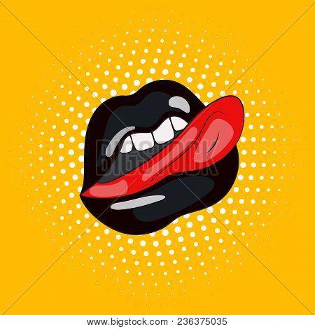 Black Lips And Tongue, Cartoon Pop Art Illustration, Vector Print