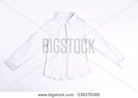 White Cotton Blouse Isolated On White. White Long Sleeve Cotton Shirt On Sale. Classic White Girls S