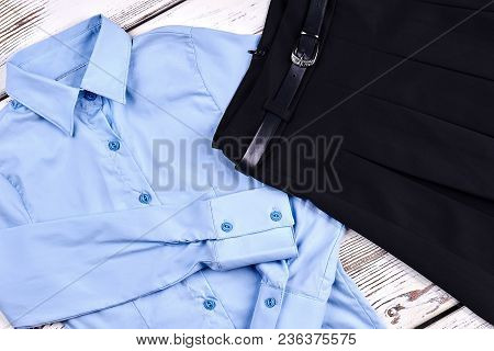 High Quality Girls School Blouse. Beautiful Light Blue School Shirt And Black Pleated Skirt For Girl