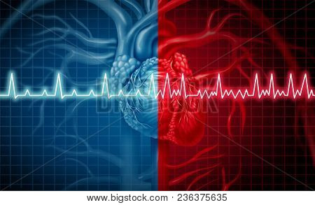 Atrial Fibrillation And Normal Or Abnormal Heart Rate Rythm Concept As A Cardiac Disorder As A Human
