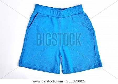 Baby Boy Blue Cotton Shorts. Toddler Boy Cotton Shorts Isolated Over White. High Quality Kids Summer