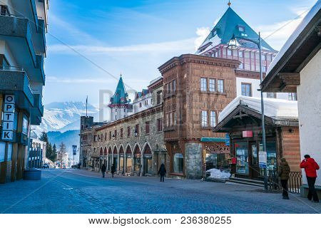 St. Moritz, Switzerland - March 25, 2018 : View Of The Morning With Building At The Street In The Hi