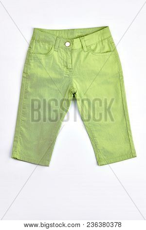 Baby-girl Light Green Cotton Breeches. Newborn Baby Girl Light Green Cotton Trousers On Sale. Kids H