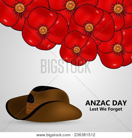 Illustration poppy vector photo free trial bigstock illustration of poppy flower and hat with anzac day lest we forget text on the occasion mightylinksfo