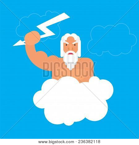 Olympic God Zeus. Stock Vector Illustration Of Myth Creature, King Of Gods, With Lightning In His He