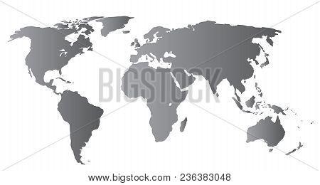 World Map Gray Color, Illustration Vector Cincept