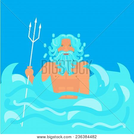Olympic God Poseidon . Stock Vector Illustration Of Myth Creature Neptune, God Of Freshwater And The