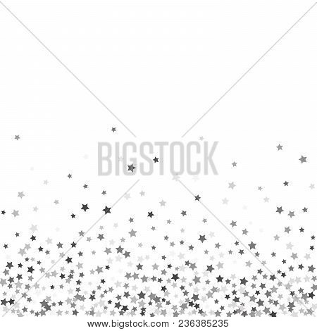 Abstract Pattern Of Random Falling Silver Stars On White Background. Glitter Pattern For Banner, Gre
