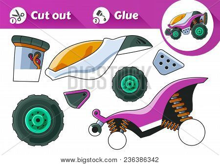 Cut And Glue Is An Educational Game For Kids. Purple Explorer Vehicle Side View. Vector Eps10