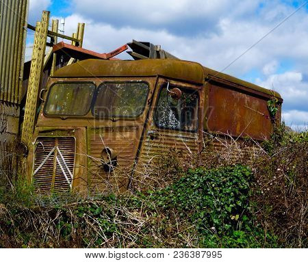 Rusting Commercial Vehicle In Rural Central France