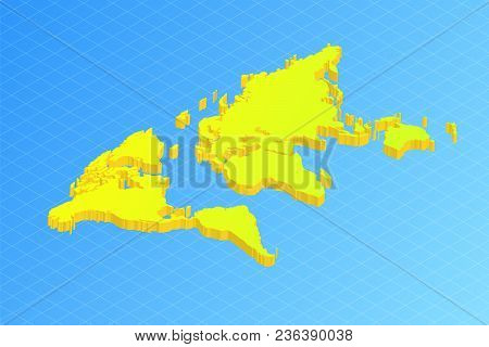 Bright Green World Map On Blue In Isometric View