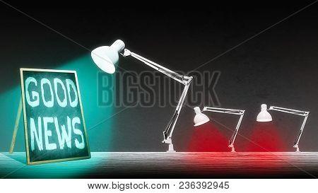 The Lamp Is Illuminating The Blackboard. Blackboard Have An Inscription