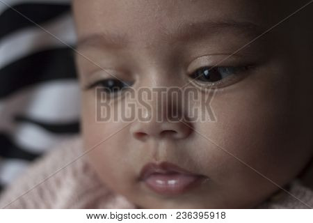 Close Up Portrait Of A Five Month Old Baby Girl Face