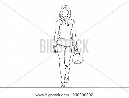Continuous Single Drawn One Line Model Podium High Fashion
