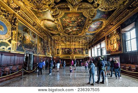 Venice, Italy - May 20, 2017: Interior Of Doge`s Palace (palazzo Ducale), The Senate Chamber. Doge`s
