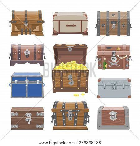 Chest Vector Treasure Box With Gold Money Wealth Or Wooden Pirate Chests With Golden Coins Illustrat