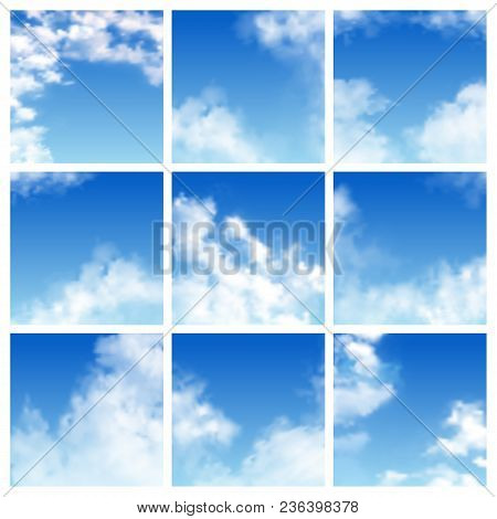 Sky Pattern Vector Cloudy Backdrop And Blue Clouded Skyline Heaven Wallpaper Illustration Set Of Clo