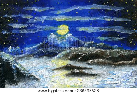 Oil Painting. Full Moon In The Mountains. Starry Night With Small Clouds. Snow Mountain With Two Pea