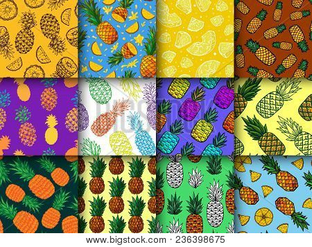 Pineapple Seamless Pattern Vector Ananas Or Tropical Fresh Fruit Textured Backdrop And Sweet Exotic