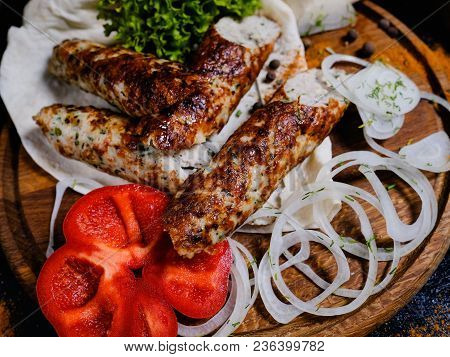 Shish Kebab. Charred Meat And Fresh Onions And Peppers. Traditional Georgian Food. Delicious Restaur