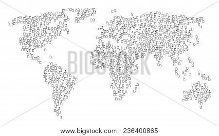 Global Composition Map Made Of New File Pictograms. Vector New File Scatter Flat Items Are United In