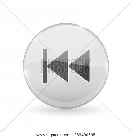 Rewind Button. Glass Shiny 3d Icon. Vector Illustration Isolated On White Background