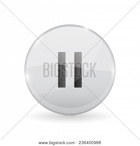 Pause Button. Glass Shiny 3d Icon. Vector Illustration Isolated On White Background