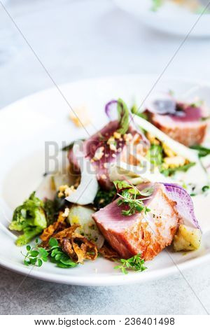 Fine dining seafood cuisine - french dish on the table