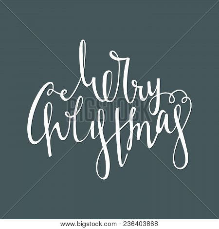 Hand Written Calligraphic Inscription Merry Christmas On Blue Background. Lettering Design Element F