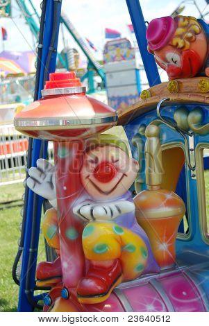 A whimsical choo choo train at a Carnival