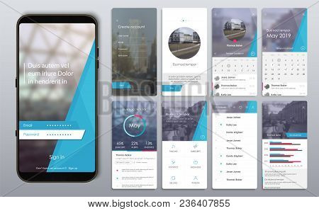 Design of the mobile application, UI, UX. A set of GUI screens with login and password input, home page, news feed, rating and statistics, settings screens. poster