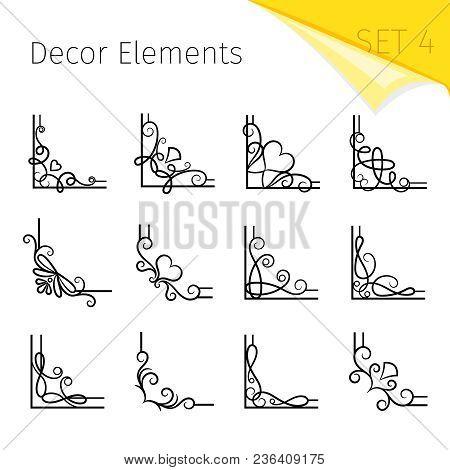 Vignette Corners. Vector Swirly Flourish Corner Set, Curly Decorative Vintage Page Frame Elements Is