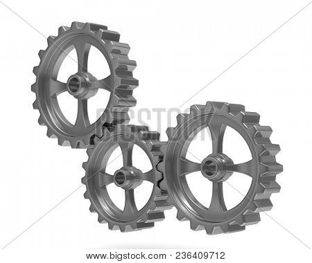 Three gears on white background. Isolated 3D illustration