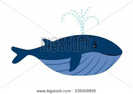 Cartoon Whale. Vector Illustration Of Swimming Whale With Water Fountain Blowhole Blow Or Spout Spra