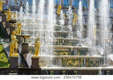 Saint- Petersburg, Russia - July 11, 2016: Fountains Of The Grand Cascade In Peterhof, Saint-petersb