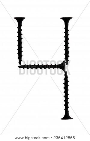Figure 4 Four Composed Of Screws Isolated On A White Background. Number 4