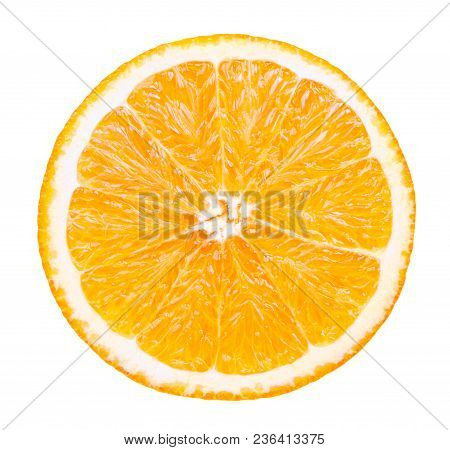 Isolated Orange Fruit. Slice Of Fresh Orange Isolated On White Background With Clipping Path