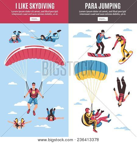 Skydiving Vertical Banners Set With Extreme Sports Symbols Flat Isolated Vector Illustration