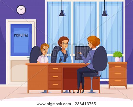 Children Parents Parenthood Cartoon Composition With Headmaster Office Interior And Human Character