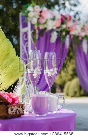 Wedding Arch. Beautiful Wedding Ceremony. Wedding Ceremony Violet Color